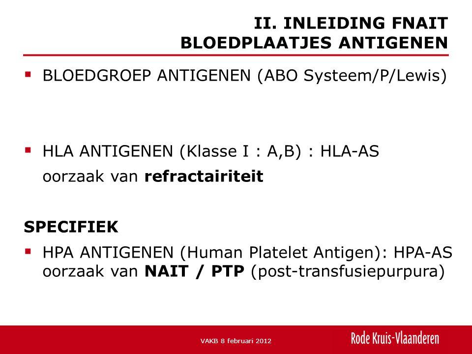  BLOEDGROEP ANTIGENEN (ABO Systeem/P/Lewis)  HLA ANTIGENEN (Klasse I : A,B) : HLA-AS oorzaak van refractairiteit SPECIFIEK  HPA ANTIGENEN (Human Platelet Antigen): HPA-AS oorzaak van NAIT / PTP (post-transfusiepurpura) II.