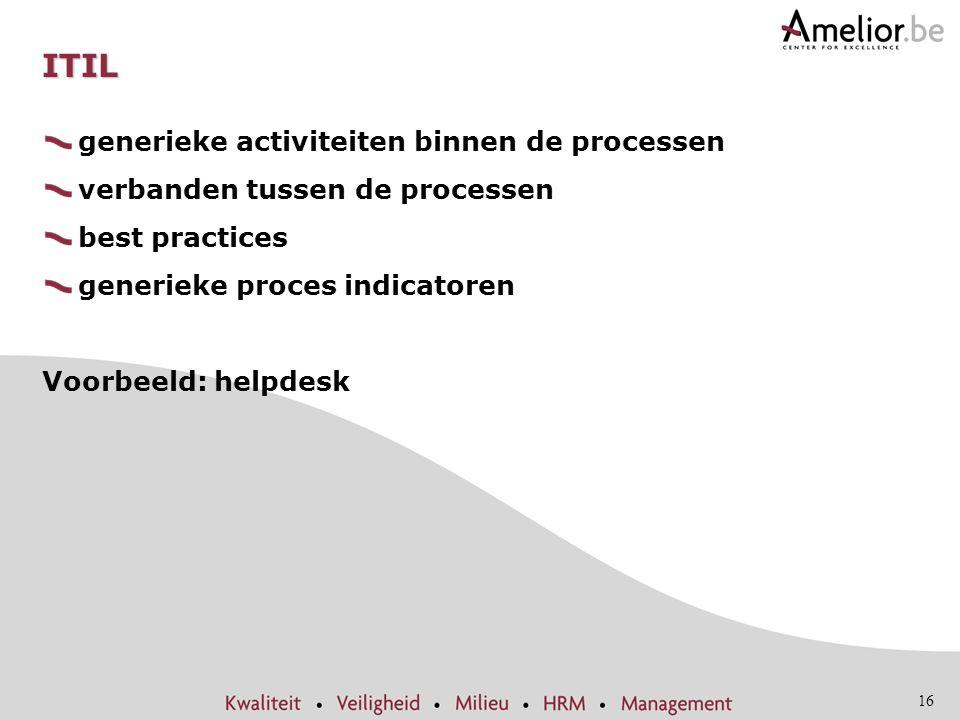 16 ITIL generieke activiteiten binnen de processen verbanden tussen de processen best practices generieke proces indicatoren Voorbeeld: helpdesk