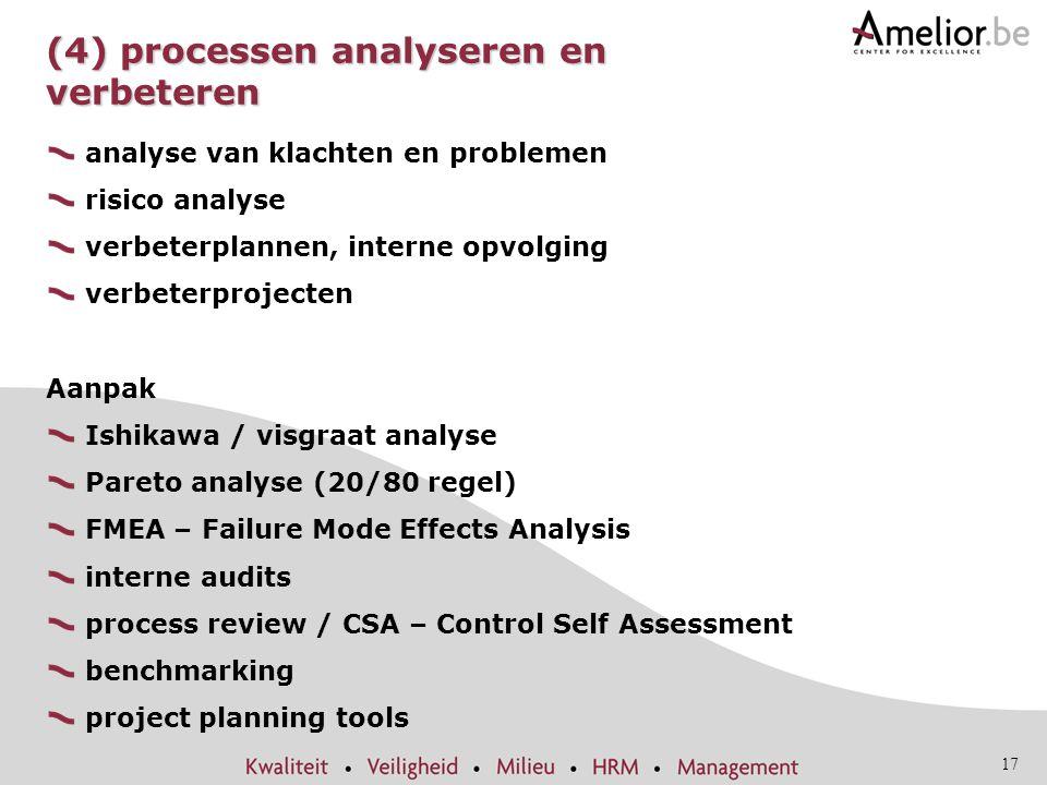 17 (4) processen analyseren en verbeteren analyse van klachten en problemen risico analyse verbeterplannen, interne opvolging verbeterprojecten Aanpak