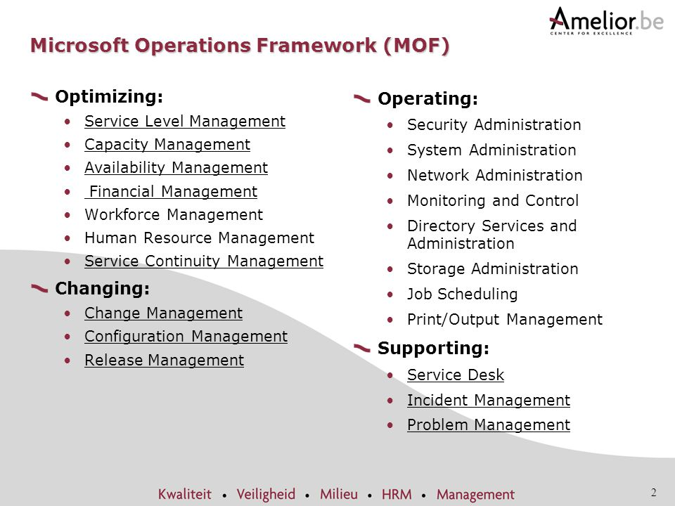 2 Microsoft Operations Framework (MOF) Optimizing: Service Level Management Capacity Management Availability Management Financial Management Workforce Management Human Resource Management Service Continuity Management Changing: Change Management Configuration Management Release Management Operating: Security Administration System Administration Network Administration Monitoring and Control Directory Services and Administration Storage Administration Job Scheduling Print/Output Management Supporting: Service Desk Incident Management Problem Management