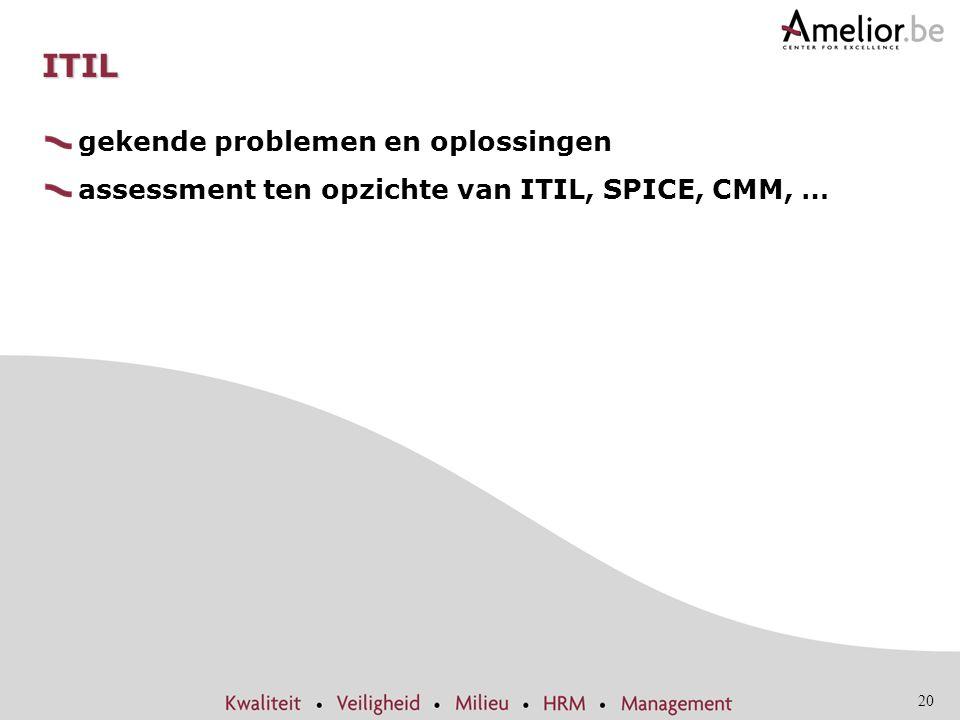 20 ITIL gekende problemen en oplossingen assessment ten opzichte van ITIL, SPICE, CMM, …