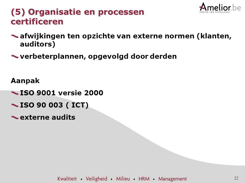 22 (5) Organisatie en processen certificeren afwijkingen ten opzichte van externe normen (klanten, auditors) verbeterplannen, opgevolgd door derden Aa