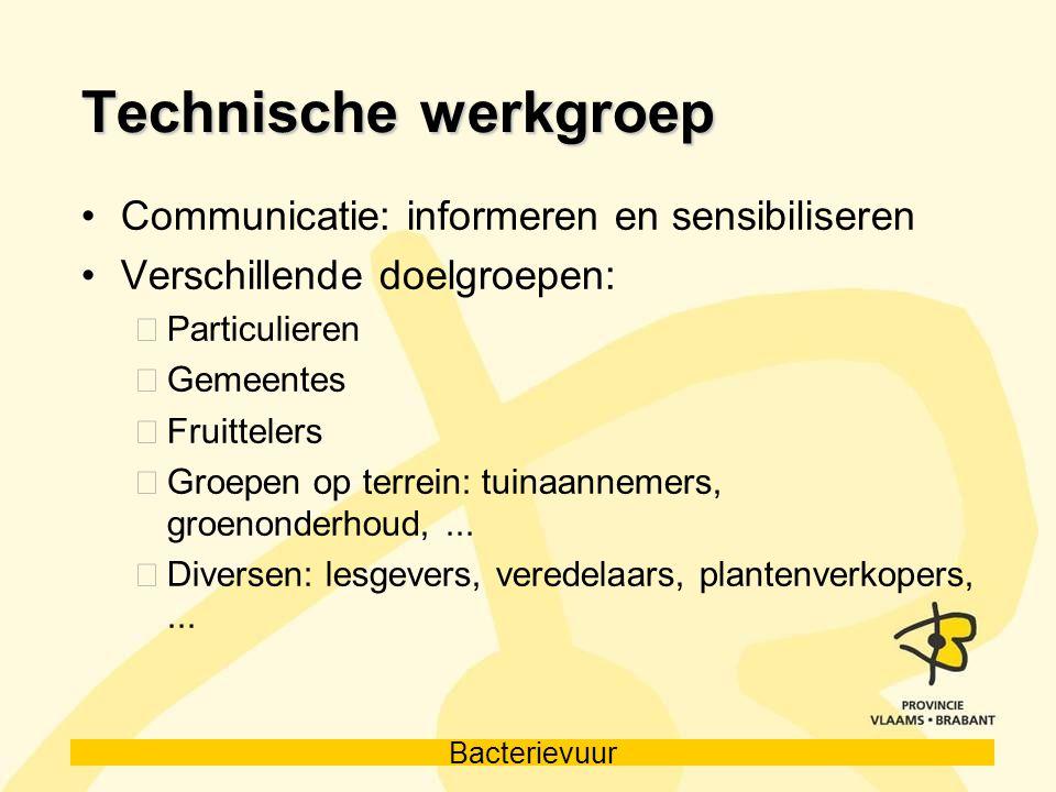 Bacterievuur Technische werkgroep Communicatie: informeren en sensibiliseren Verschillende doelgroepen: Particulieren Gemeentes Fruittelers Groepen op
