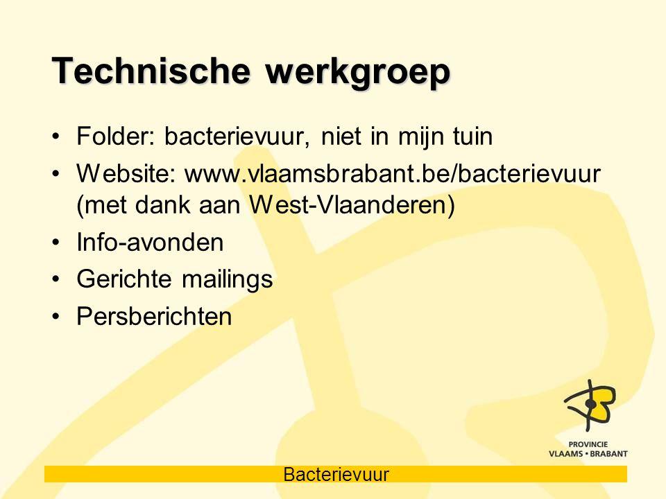Bacterievuur Technische werkgroep Folder: bacterievuur, niet in mijn tuin Website: www.vlaamsbrabant.be/bacterievuur (met dank aan West-Vlaanderen) In