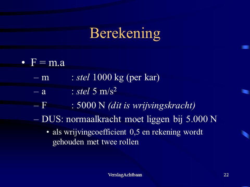 VerslagAchtbaan22 Berekening F = m.a –m: stel 1000 kg (per kar) –a: stel 5 m/s 2 –F: 5000 N (dit is wrijvingskracht) –DUS: normaalkracht moet liggen b