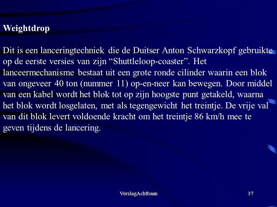 """VerslagAchtbaan37 Weightdrop Dit is een lanceringtechniek die de Duitser Anton Schwarzkopf gebruikte op de eerste versies van zijn """"Shuttleloop-coaste"""