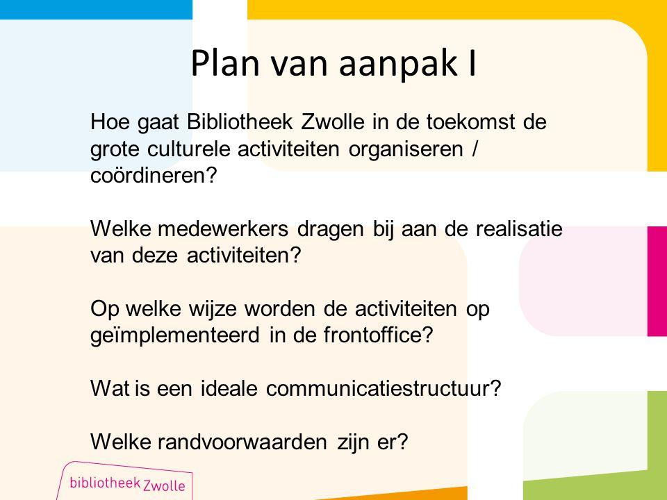 Plan van aanpak I Hoe gaat Bibliotheek Zwolle in de toekomst de grote culturele activiteiten organiseren / coördineren.