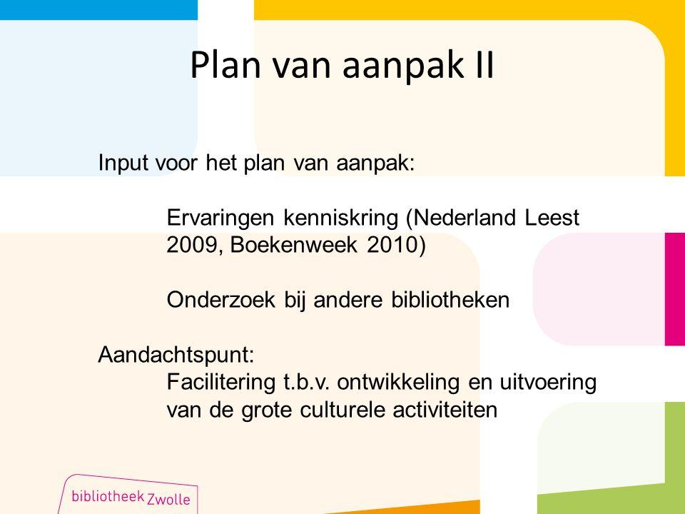 Plan van aanpak II Input voor het plan van aanpak: Ervaringen kenniskring (Nederland Leest 2009, Boekenweek 2010) Onderzoek bij andere bibliotheken Aandachtspunt: Facilitering t.b.v.