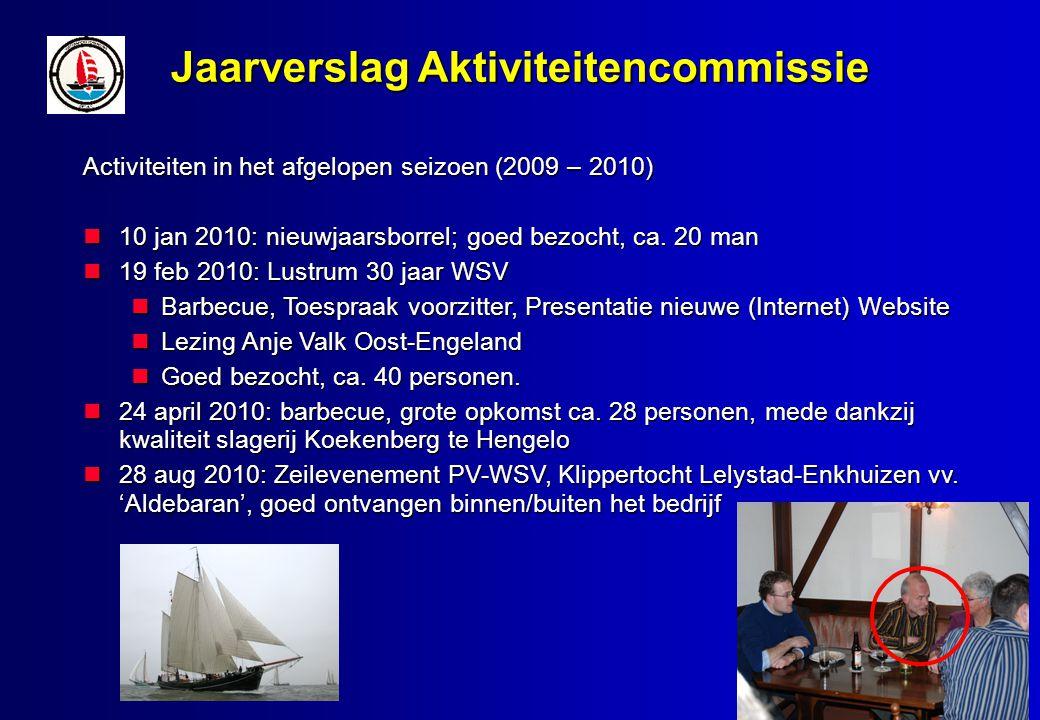 Jaarverslag Aktiviteitencommissie Activiteiten in het afgelopen seizoen (2009 – 2010) 10 jan 2010: nieuwjaarsborrel; goed bezocht, ca.