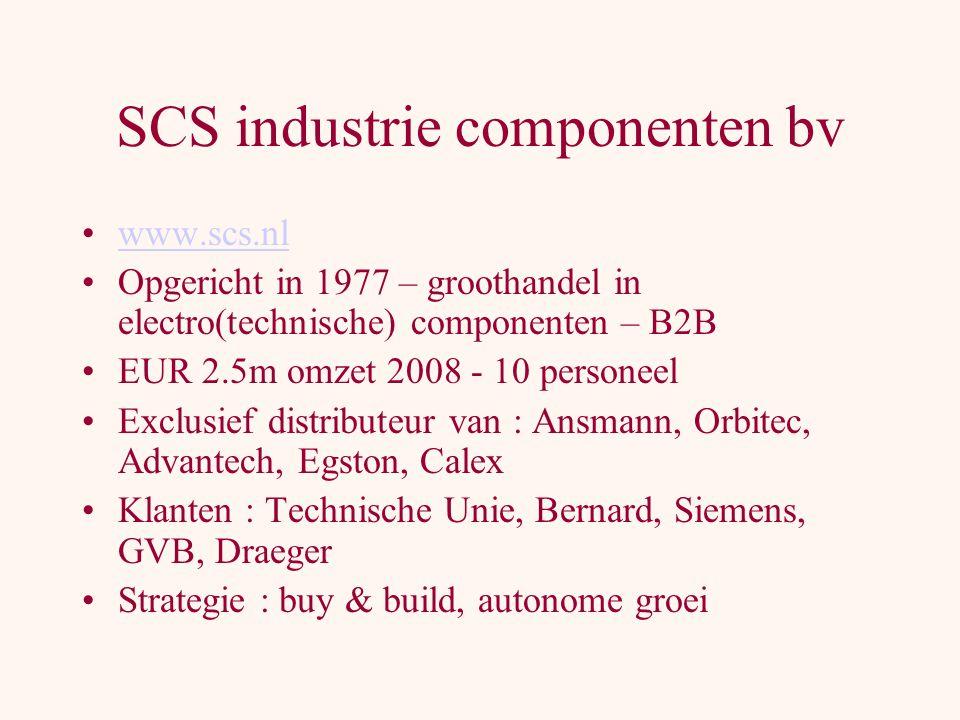SCS industrie componenten bv www.scs.nl Opgericht in 1977 – groothandel in electro(technische) componenten – B2B EUR 2.5m omzet 2008 - 10 personeel Exclusief distributeur van : Ansmann, Orbitec, Advantech, Egston, Calex Klanten : Technische Unie, Bernard, Siemens, GVB, Draeger Strategie : buy & build, autonome groei
