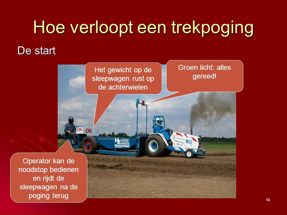 14 Hoe verloopt een trekpoging De start Het gewicht op de sleepwagen rust op de achterwielen Groen licht: alles gereed! Operator kan de noodstop bedie