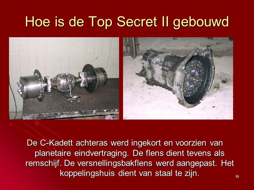 19 Hoe is de Top Secret II gebouwd De C-Kadett achteras werd ingekort en voorzien van planetaire eindvertraging. De flens dient tevens als remschijf.