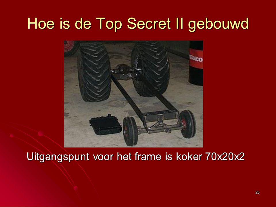 20 Hoe is de Top Secret II gebouwd Uitgangspunt voor het frame is koker 70x20x2