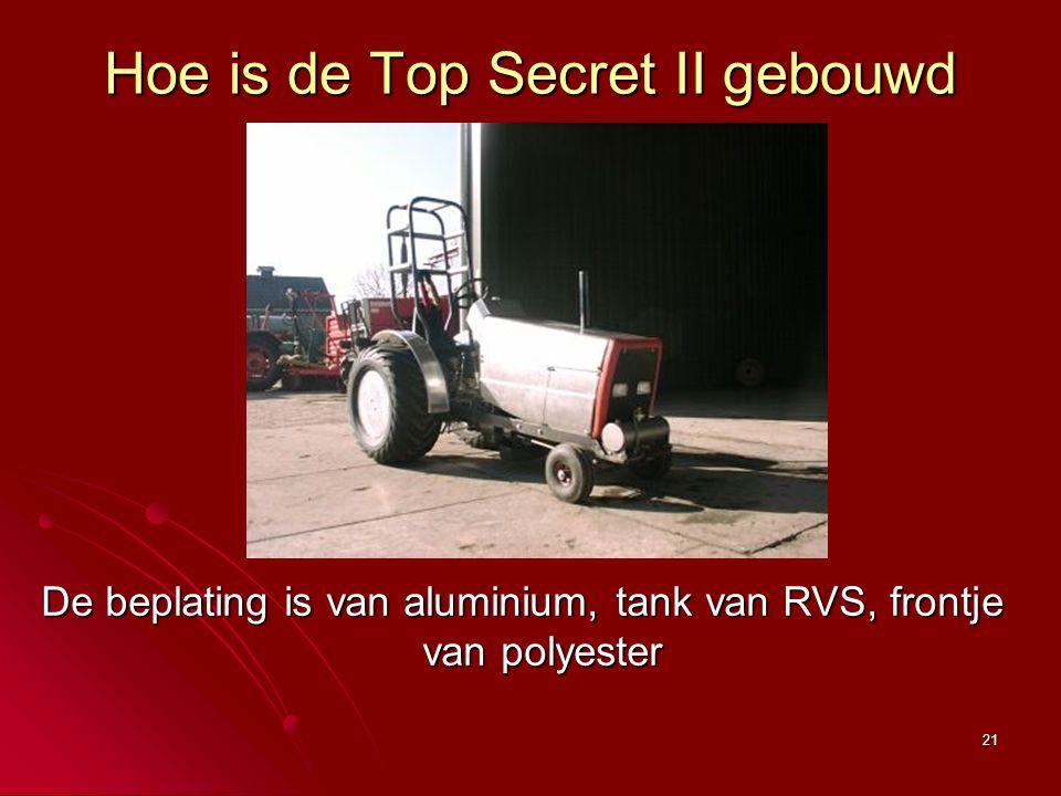 21 Hoe is de Top Secret II gebouwd De beplating is van aluminium, tank van RVS, frontje van polyester