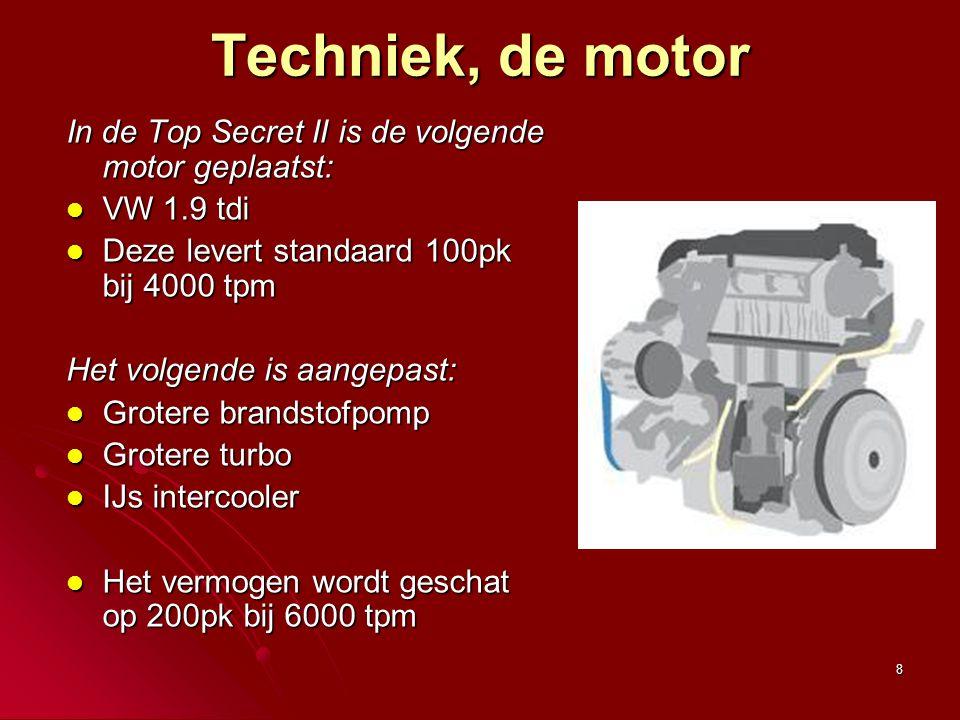 8 Techniek, de motor In de Top Secret II is de volgende motor geplaatst: VW 1.9 tdi VW 1.9 tdi Deze levert standaard 100pk bij 4000 tpm Deze levert st