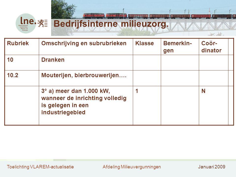 Toelichting VLAREM-actualisatieAfdeling MilieuvergunningenJanuari 2009 Bedrijfsinterne milieuzorg. RubriekOmschrijving en subrubriekenKlasseBemerkin-