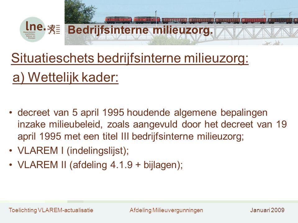 Toelichting VLAREM-actualisatieAfdeling MilieuvergunningenJanuari 2009 Bedrijfsinterne milieuzorg. Situatieschets bedrijfsinterne milieuzorg: a) Wette
