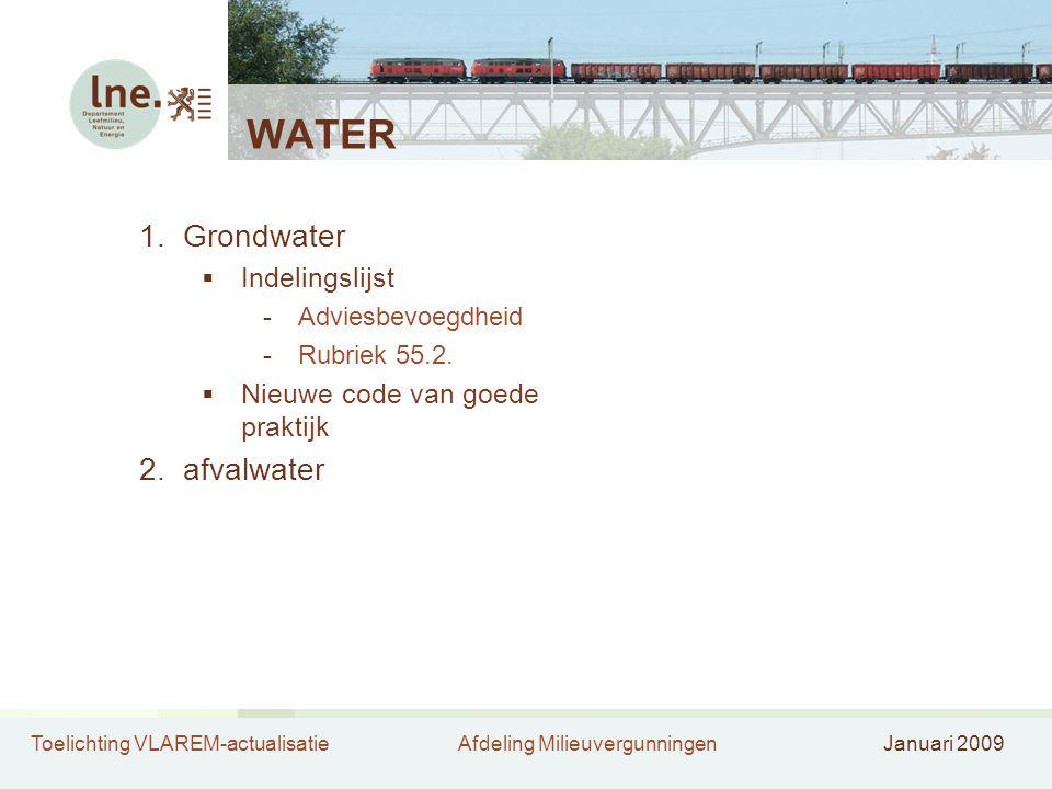 Toelichting VLAREM-actualisatieAfdeling MilieuvergunningenJanuari 2009 WATER 1.Grondwater  Indelingslijst -Adviesbevoegdheid -Rubriek 55.2.