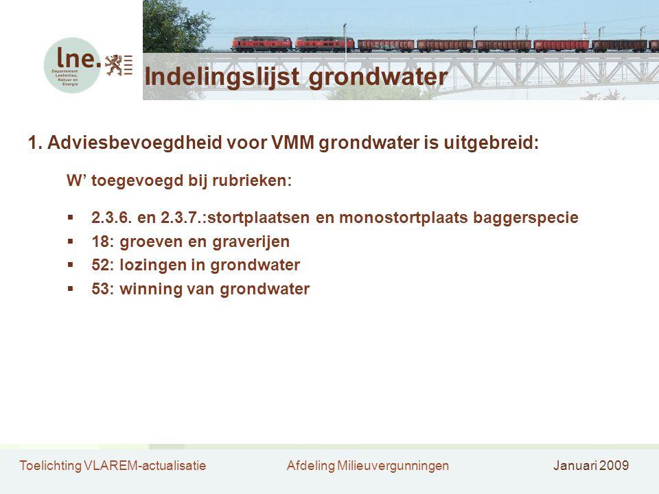 Toelichting VLAREM-actualisatieAfdeling MilieuvergunningenJanuari 2009 Indelingslijst grondwater 1. Adviesbevoegdheid voor VMM grondwater is uitgebrei