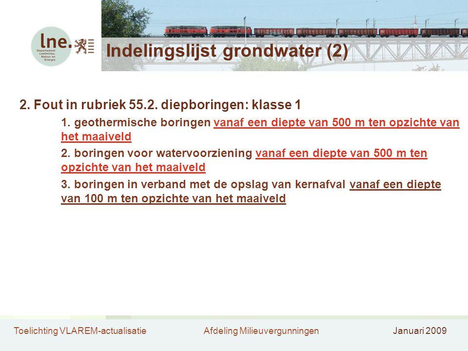 Toelichting VLAREM-actualisatieAfdeling MilieuvergunningenJanuari 2009 Indelingslijst grondwater (2) 2.