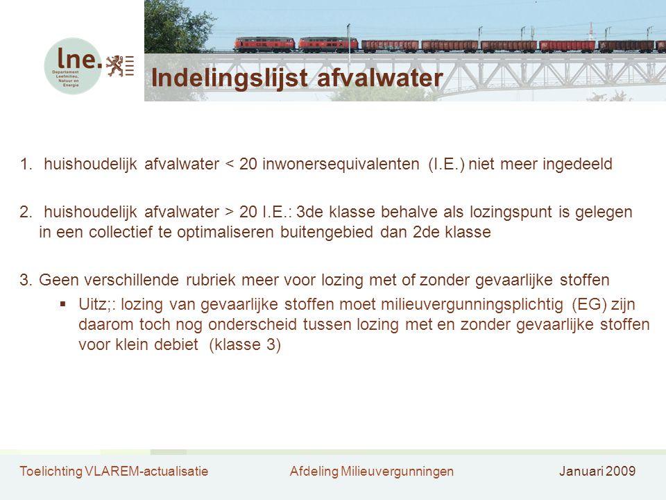 Toelichting VLAREM-actualisatieAfdeling MilieuvergunningenJanuari 2009 Indelingslijst afvalwater 1. huishoudelijk afvalwater < 20 inwonersequivalenten