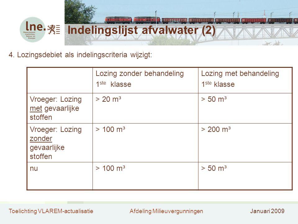 Toelichting VLAREM-actualisatieAfdeling MilieuvergunningenJanuari 2009 Indelingslijst afvalwater (2) 4. Lozingsdebiet als indelingscriteria wijzigt: L