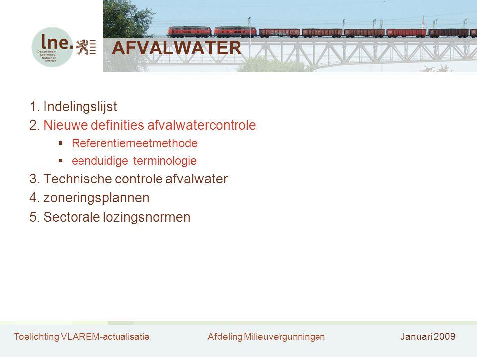 Toelichting VLAREM-actualisatieAfdeling MilieuvergunningenJanuari 2009 AFVALWATER 1.Indelingslijst 2.Nieuwe definities afvalwatercontrole  Referentiemeetmethode  eenduidige terminologie 3.Technische controle afvalwater 4.zoneringsplannen 5.Sectorale lozingsnormen