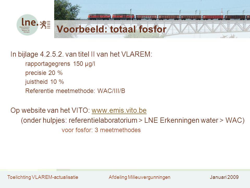 Toelichting VLAREM-actualisatieAfdeling MilieuvergunningenJanuari 2009 Voorbeeld: totaal fosfor In bijlage 4.2.5.2. van titel II van het VLAREM: rappo