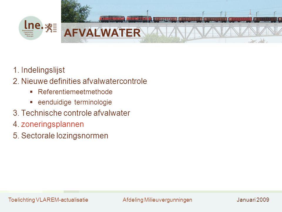 Toelichting VLAREM-actualisatieAfdeling MilieuvergunningenJanuari 2009 AFVALWATER 1.Indelingslijst 2.Nieuwe definities afvalwatercontrole  Referentie