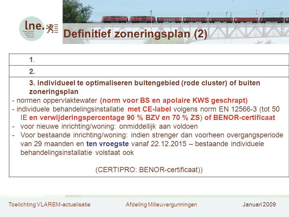 Toelichting VLAREM-actualisatieAfdeling MilieuvergunningenJanuari 2009 Definitief zoneringsplan (2) 1.1. 2. 3. individueel te optimaliseren buitengebi