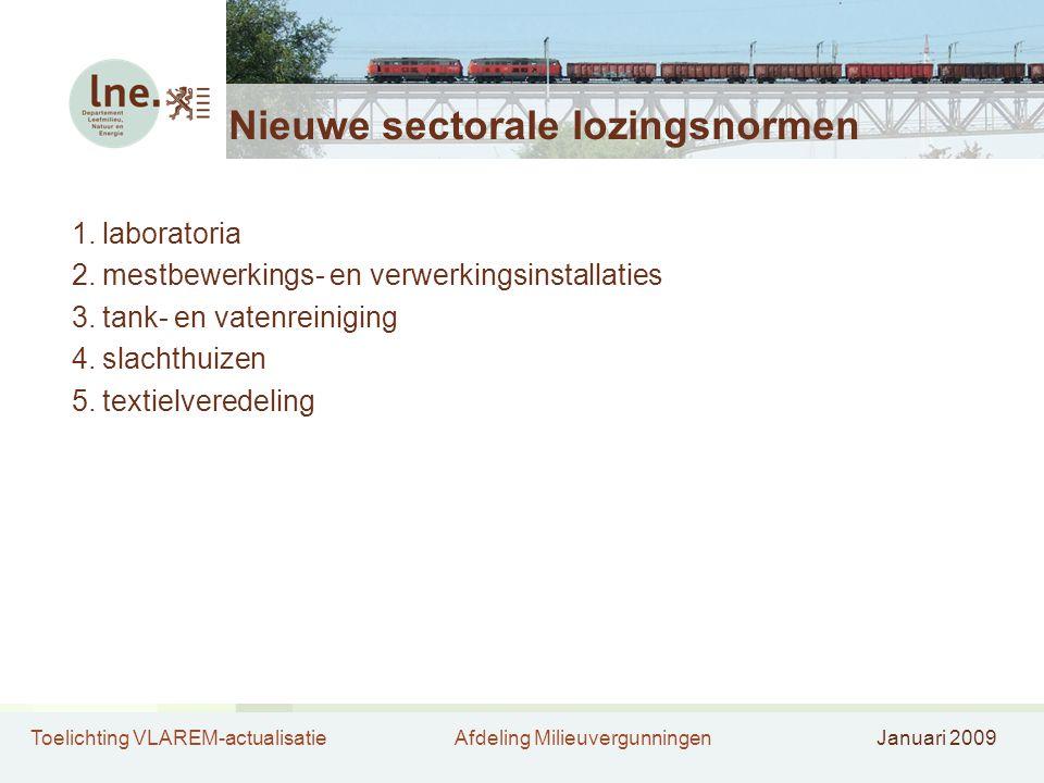 Toelichting VLAREM-actualisatieAfdeling MilieuvergunningenJanuari 2009 Nieuwe sectorale lozingsnormen 1.laboratoria 2.mestbewerkings- en verwerkingsin