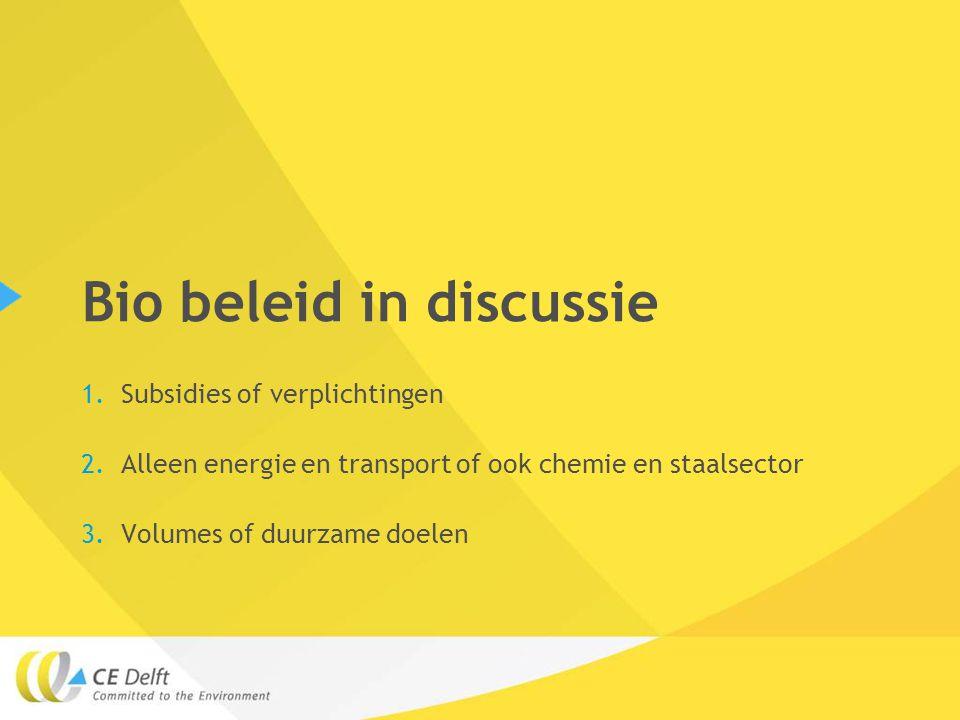 Bio beleid in discussie 1.Subsidies of verplichtingen 2.Alleen energie en transport of ook chemie en staalsector 3.Volumes of duurzame doelen