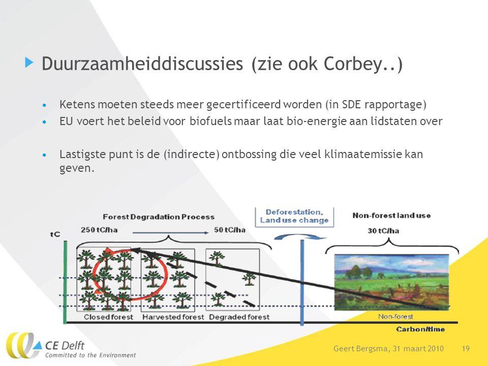 19Geert Bergsma, 31 maart 2010 Duurzaamheiddiscussies (zie ook Corbey..) Ketens moeten steeds meer gecertificeerd worden (in SDE rapportage) EU voert