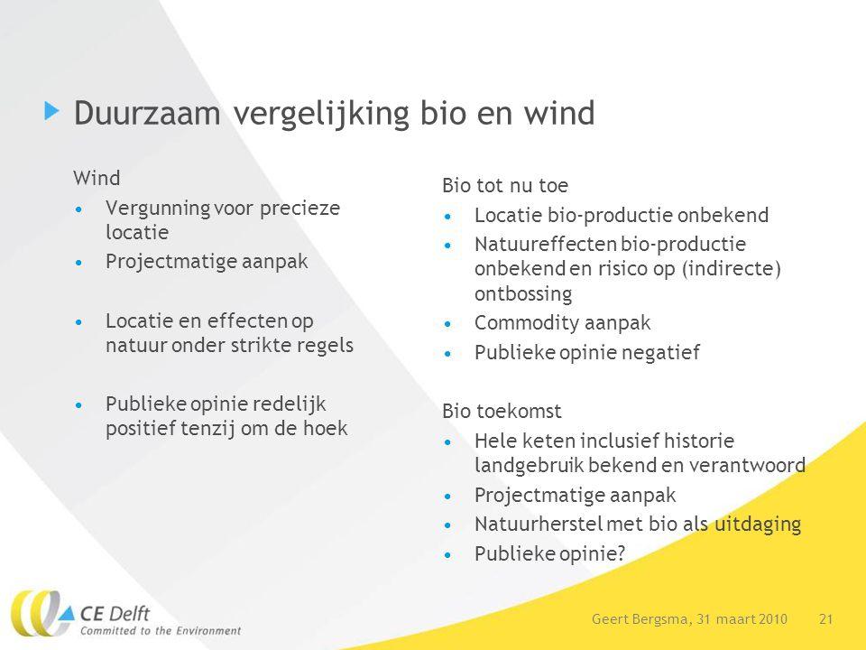 21Geert Bergsma, 31 maart 2010 Duurzaam vergelijking bio en wind Wind Vergunning voor precieze locatie Projectmatige aanpak Locatie en effecten op nat