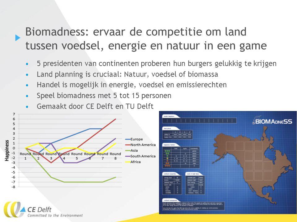 23Geert Bergsma, 31 maart 2010 Biomadness: ervaar de competitie om land tussen voedsel, energie en natuur in een game 5 presidenten van continenten pr