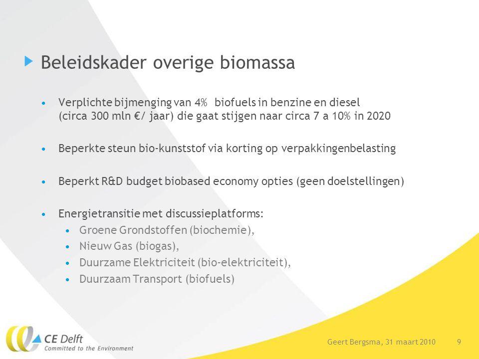 10Geert Bergsma, 31 maart 2010 10 Huidige mondiale inzet biomassa -13% energievraag duurzame bronnen waarvan 77% bio-energie -87% biomassa hout voor warmte en elektriciteit -Aandeel teelt voor biobrandstoffen nog beperkt maar groeiend -Biochemie/producten niet opgenomen in biomassa statistieken Bron IEA