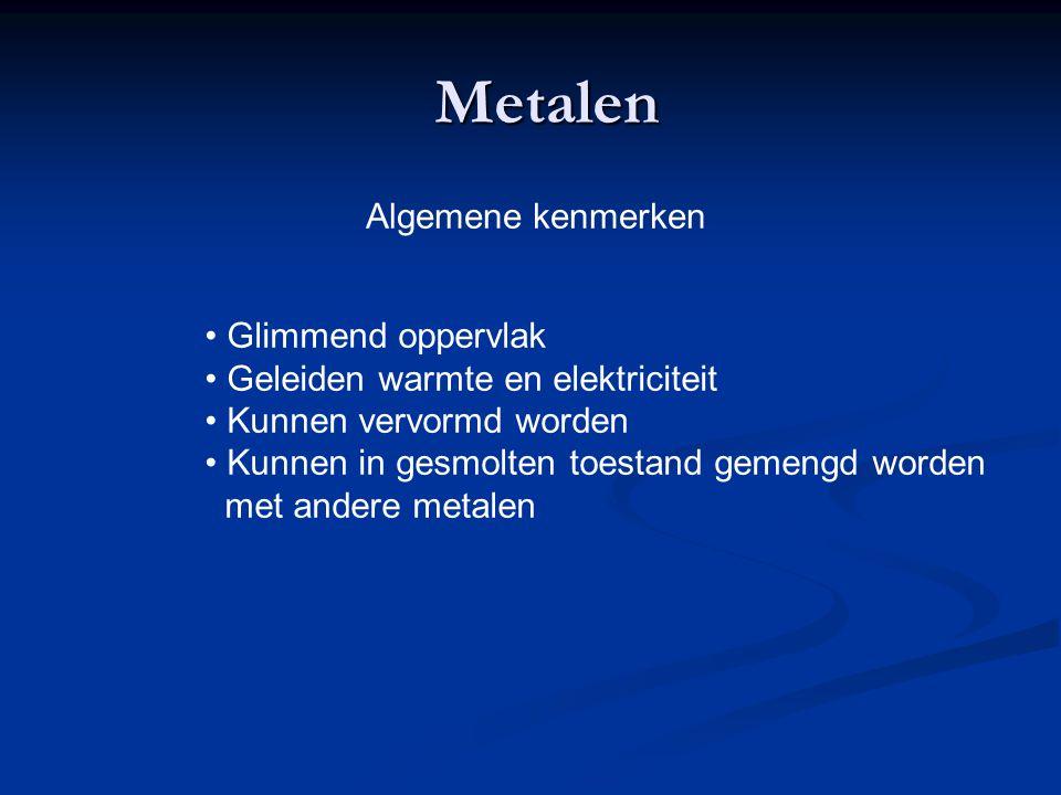 Metalen Algemene kenmerken Glimmend oppervlak Geleiden warmte en elektriciteit Kunnen vervormd worden Kunnen in gesmolten toestand gemengd worden met