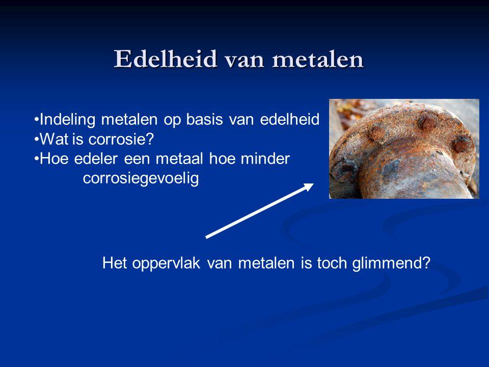 Indeling metalen op basis van edelheid Wat is corrosie? Hoe edeler een metaal hoe minder corrosiegevoelig Edelheid van metalen Het oppervlak van metal