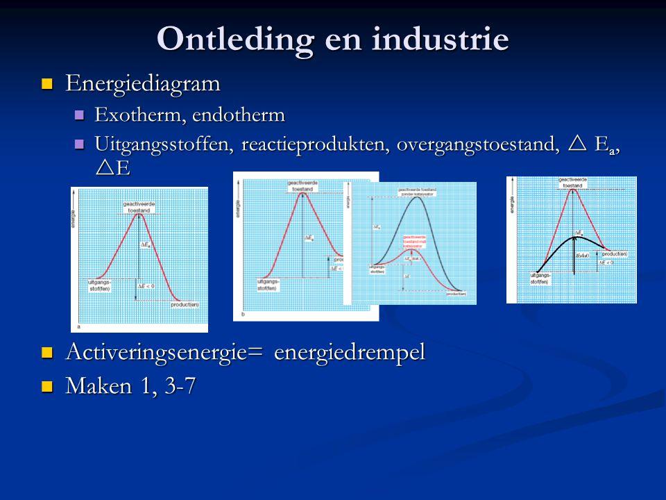 Ontleding en industrie Energiediagram Energiediagram Exotherm, endotherm Exotherm, endotherm Uitgangsstoffen, reactieprodukten, overgangstoestand,  E