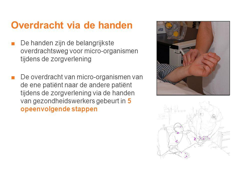 Overdracht via de handen ■De handen zijn de belangrijkste overdrachtsweg voor micro-organismen tijdens de zorgverlening ■De overdracht van micro-organ
