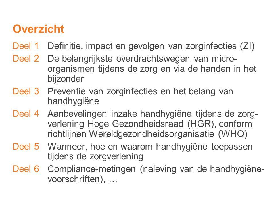 Handhygiëne en handschoengebruik (6) Wanneer zich tijdens het dragen van handschoenen een indicatie voor handhygiëne voordoet, moeten de handschoenen verwijderd worden om handhygiëne toe te passen