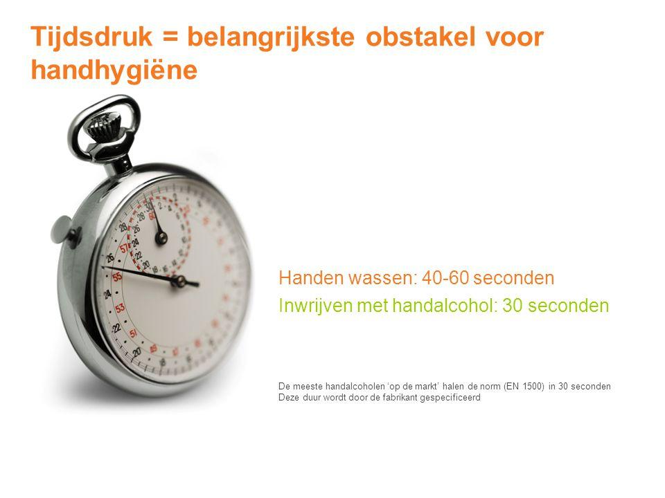 Handen wassen: 40-60 seconden Inwrijven met handalcohol: 30 seconden Tijdsdruk = belangrijkste obstakel voor handhygiëne De meeste handalcoholen 'op d