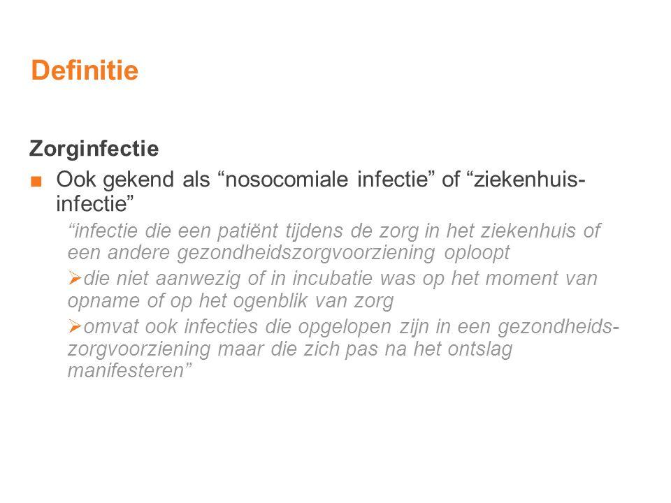 """Definitie Zorginfectie ■Ook gekend als """"nosocomiale infectie"""" of """"ziekenhuis- infectie"""" """"infectie die een patiënt tijdens de zorg in het ziekenhuis of"""