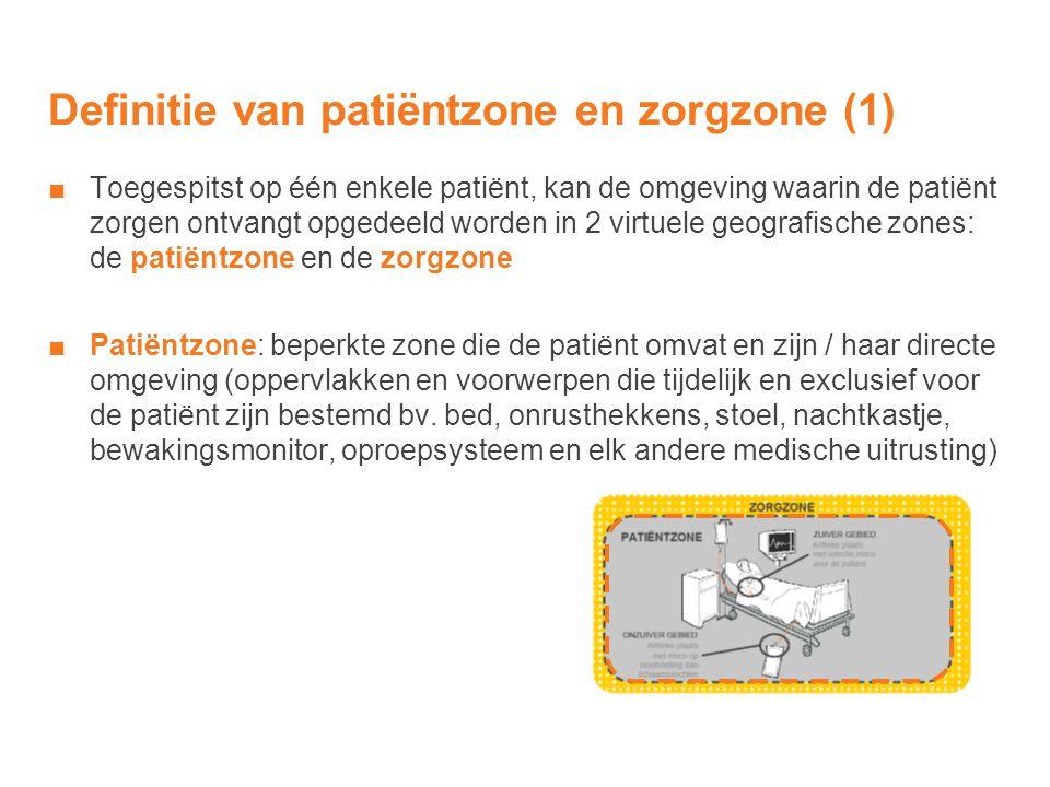Definitie van patiëntzone en zorgzone (1) ■Toegespitst op één enkele patiënt, kan de omgeving waarin de patiënt zorgen ontvangt opgedeeld worden in 2