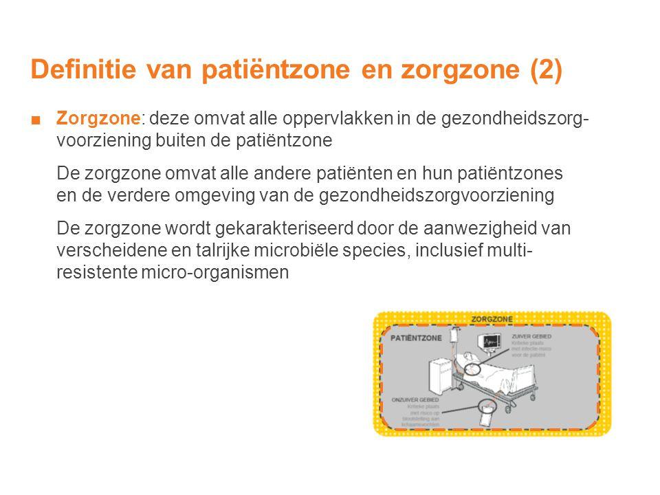 Definitie van patiëntzone en zorgzone (2) ■Zorgzone: deze omvat alle oppervlakken in de gezondheidszorg- voorziening buiten de patiëntzone De zorgzone