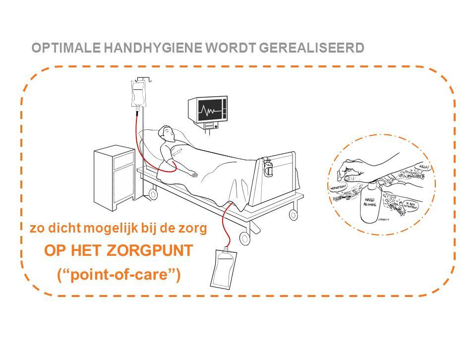 """OPTIMALE HANDHYGIENE WORDT GEREALISEERD zo dicht mogelijk bij de zorg OP HET ZORGPUNT (""""point-of-care"""")"""