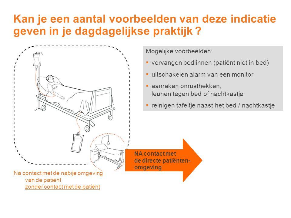 Mogelijke voorbeelden:  vervangen bedlinnen (patiënt niet in bed)  uitschakelen alarm van een monitor  aanraken onrusthekken, leunen tegen bed of n