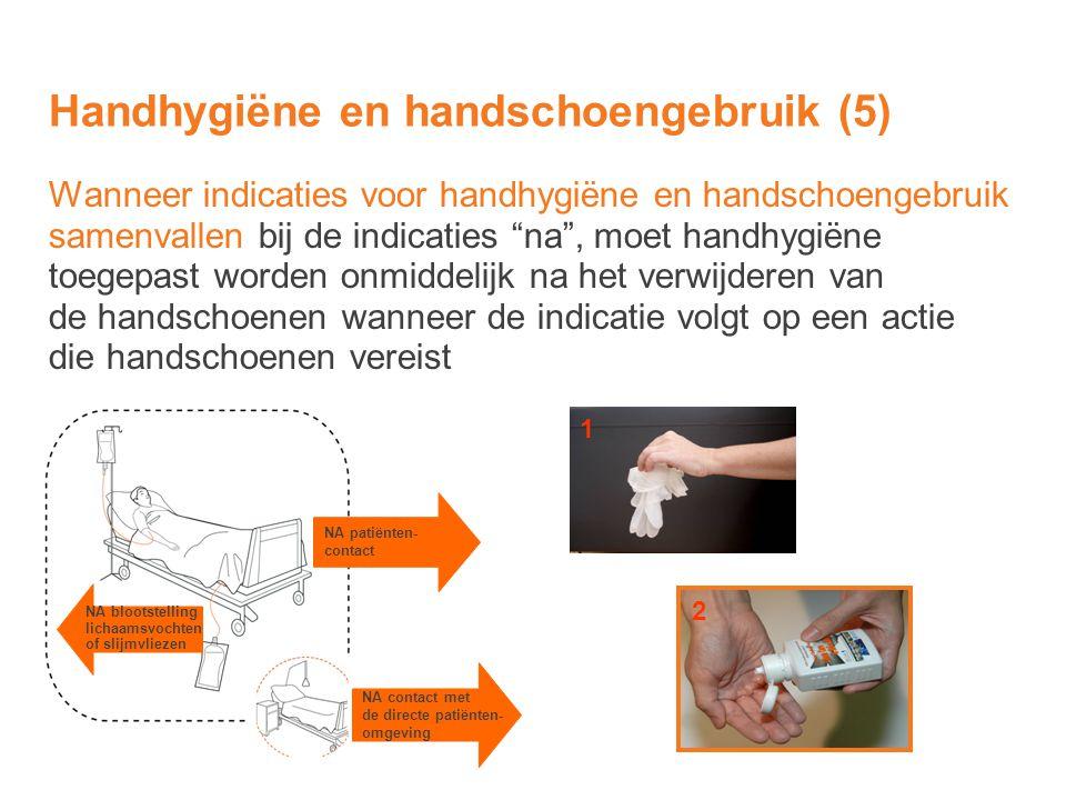 """Wanneer indicaties voor handhygiëne en handschoengebruik samenvallen bij de indicaties """"na"""", moet handhygiëne toegepast worden onmiddelijk na het verw"""