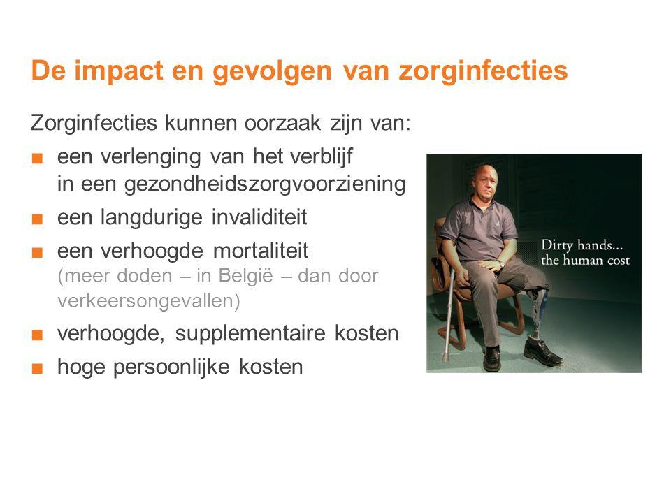 De impact en gevolgen van zorginfecties Zorginfecties kunnen oorzaak zijn van: ■een verlenging van het verblijf in een gezondheidszorgvoorziening ■een
