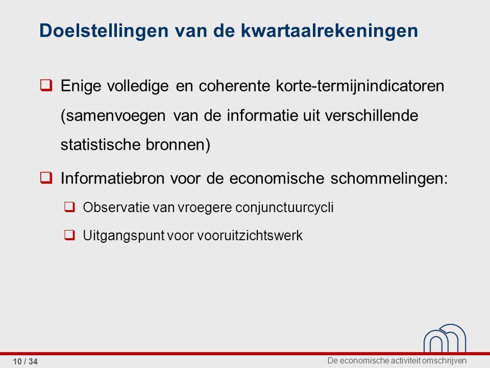 De economische activiteit omschrijven 10 / 34 Doelstellingen van de kwartaalrekeningen  Enige volledige en coherente korte-termijnindicatoren (samenv
